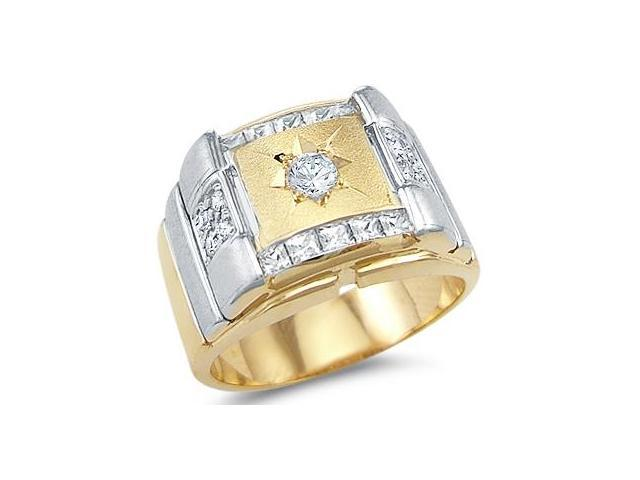 Solid 14k Yellow and White Gold Mens Large Wedding CZ Cubic Zirconia Ring Band 1.0 ct