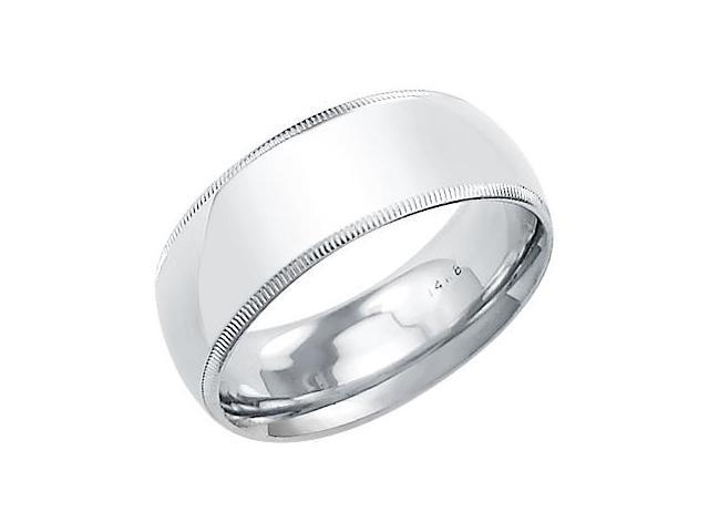14k Solid White Gold Milgrain Comfort Wedding Ring Band 8MM - Size 9 - 10.4 Grams