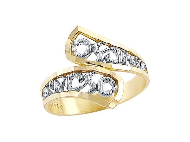 14k Yellow and White Gold Two Tone Elegant Ladies Ring
