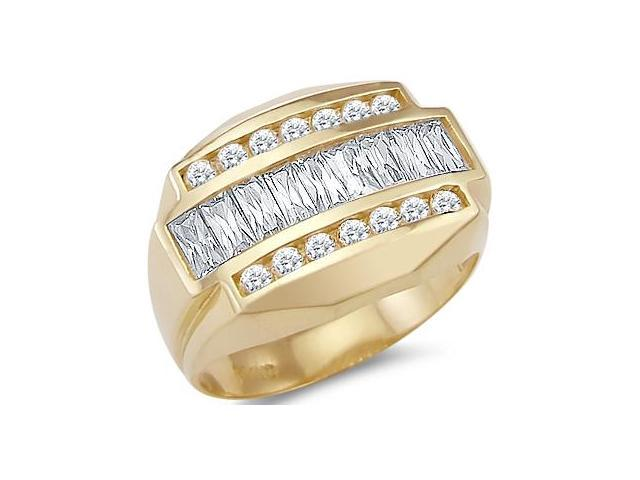 New Solid 14k Yellow Gold Mens Heavy Large CZ Cubic Zirconia Band Ring