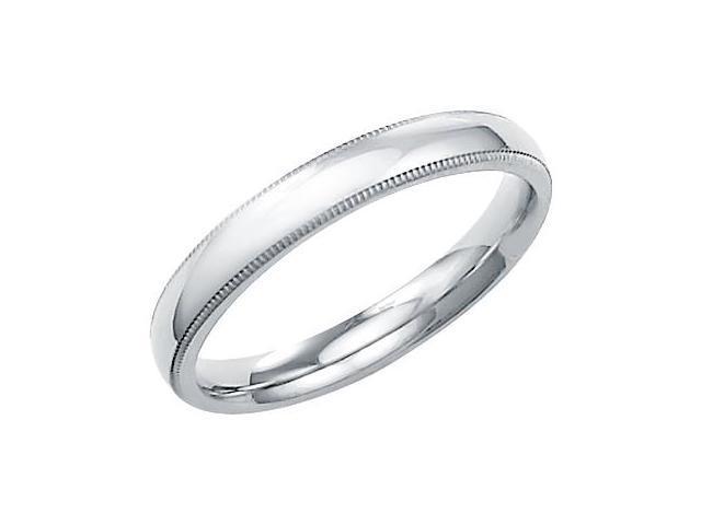 14k Solid White Gold Milgrain Comfort Wedding Ring Band 3MM - Size 8 - 3.5 Grams