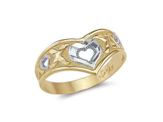 14k Yellow and White Gold Two Tone Love Heart XOX Ring