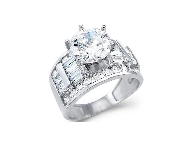 Solid 14k White Gold Solitaire CZ Cubic Zirconia Engagement Wedding Ring 4.0 ct