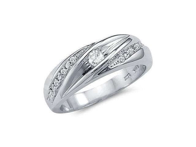 Solid 14k White Gold Mens Matching Wedding Band CZ Cubic Zirconia Ring 0.5 ct