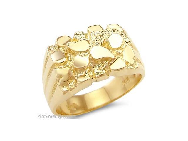 Solid 14k Yellow Gold Huge Heavy Mens Nugget Ring Band
