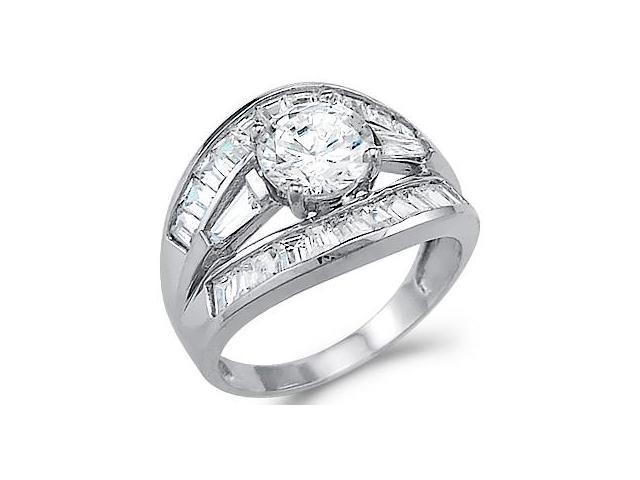 Solid 14k White Gold Large Unique Engagement Wedding CZ Cubic Zirconia Ring 2.5 ct