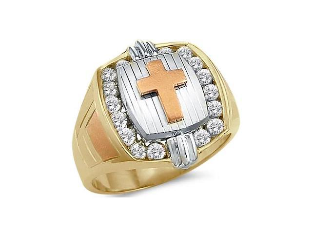 Solid 14k Tri-Color Gold Large Heavy Mens CZ Cubic Zirconia Cross Ring