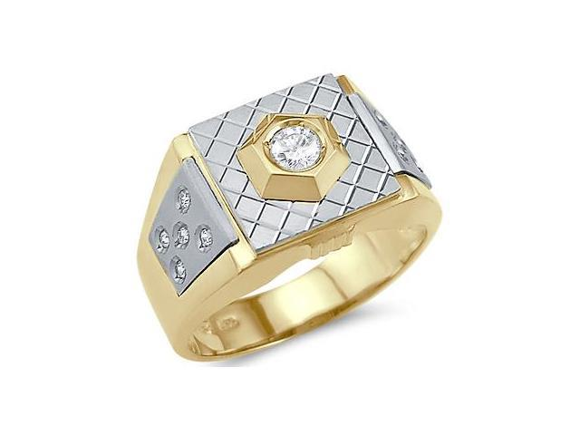 Solid 14k Yellow and White Gold Mens Large Solitaire CZ Cubic Zirconia Ring