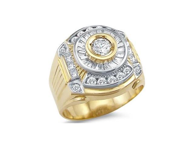 Solid 14k Yellow and White Gold Large Mens CZ Cubic Zirconia Band Ring