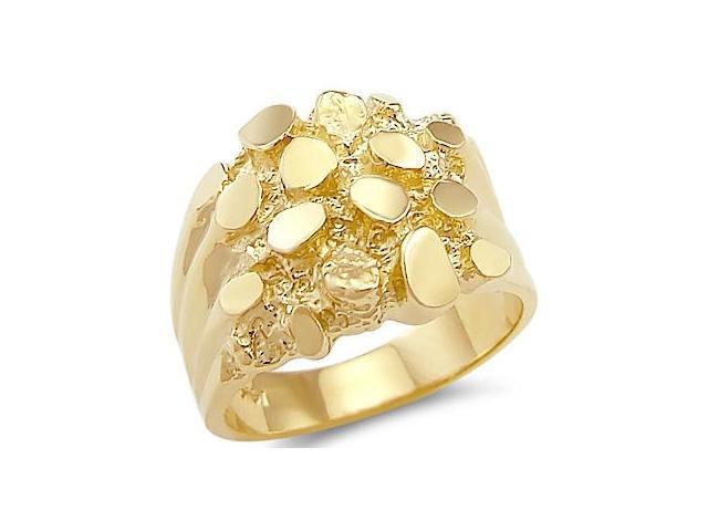 Solid 14k Yellow Gold Heavy Large Mens Nugget Ring Band