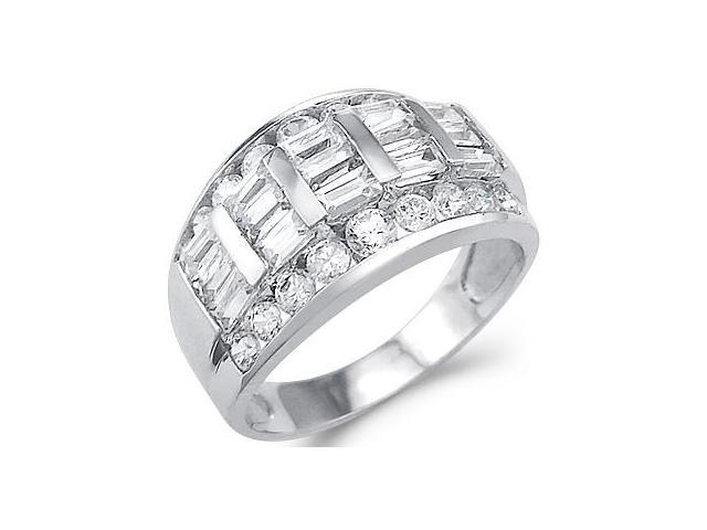 Solid 14k White Gold Ladies CZ Cubic Zirconia Wedding Anniversary Band Ring 2.0 ct
