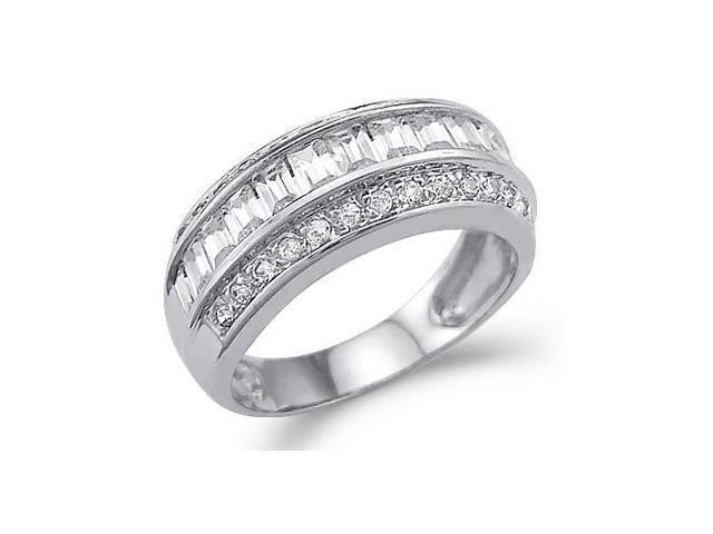 New Solid 14k White Gold Big CZ Cubic Zirconia Wedding Anniversary Band Ring 2.0 ct