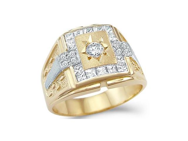 Solid 14k Yellow and White Gold Mens Wedding CZ Cubic Zirconia Ring Band 1.0 ct