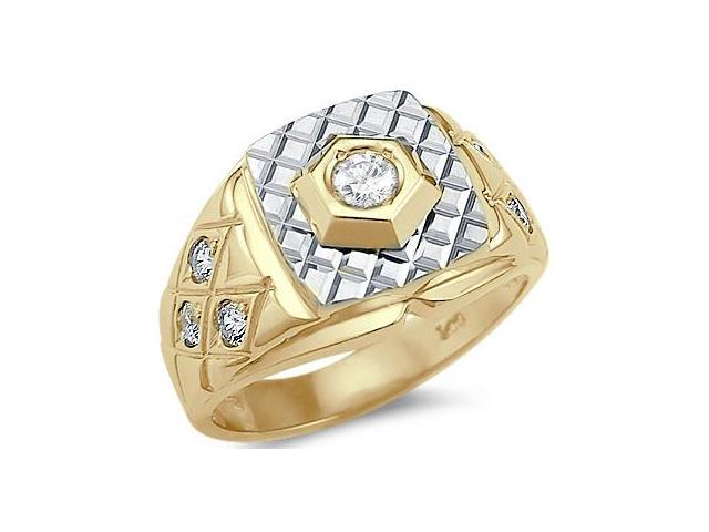 Solid 14k Yellow and White Gold Large Mens Solitaire CZ Cubic Zirconia Ring