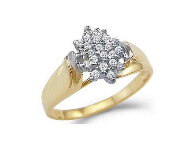 Solid 14k Yellow White Gold Ladies Engagement CZ Cubic Zirconia Cluster Ring Round Cut 1.0 ct