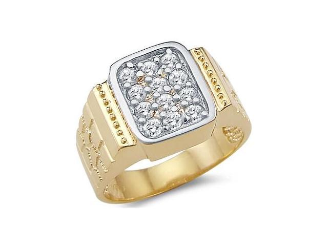 Solid 14k Yellow Gold Large Mens Nugget CZ Cubic Zirconia Band Ring