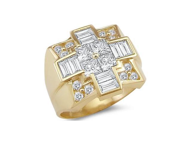 New Solid 14k Yellow Gold Mens Huge Large Cross CZ Cubic Zirconia Ring