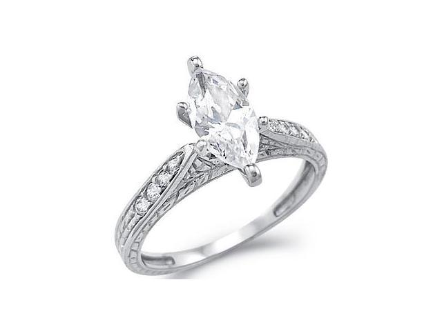 Solid 14k White Gold Ladies Marquise CZ Cubic Zirconia Engagement Ring New 2.5 ct