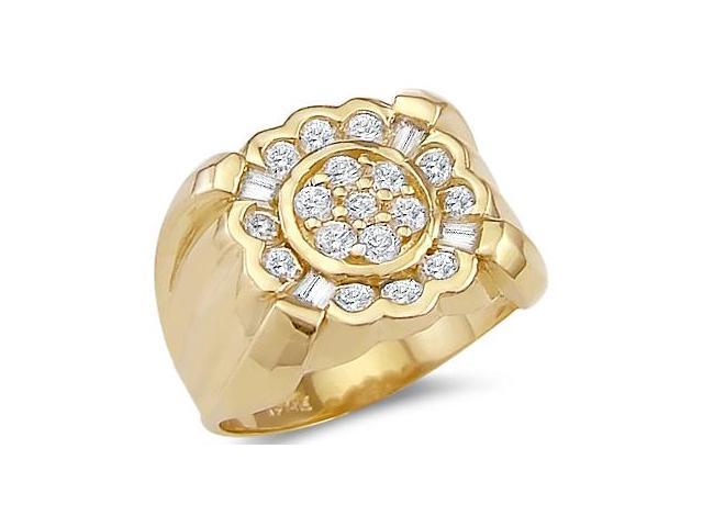 Solid 14k Yellow Gold Mens Heavy Cluster CZ Cubic Zirconia Ring Band