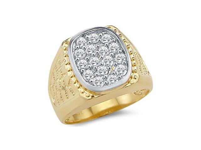 Solid 14k Yellow Gold Big Mens Nugget CZ Cubic Zirconia Ring Band New