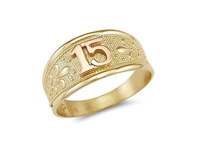 14k Yellow Rose Gold Sweet 15 Birthday Quinceanera Ring