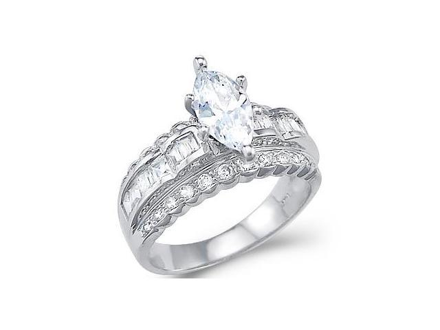 Solid 14k White Gold Large Marquise CZ Cubic Zirconia Heavy Engagement Ring 2.5 ct