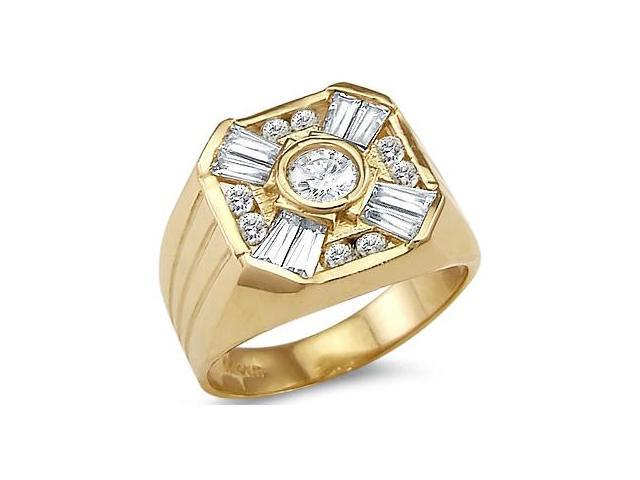 New Solid 14k Yellow Gold Mens Large Heavy CZ Cubic Zirconia Ring Band
