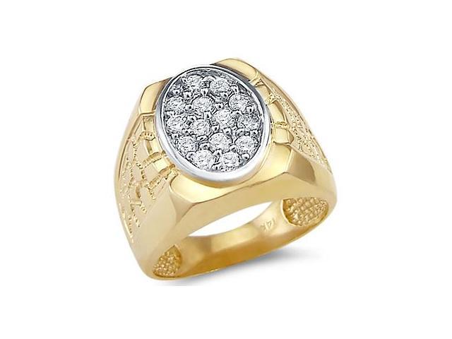 Solid 14k Yellow Gold Mens Big Huge Nugget CZ Cubic Zirconia Band Ring