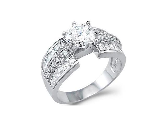 Large Solid 14k White Gold Solitaire CZ Cubic Zirconia Engagement Ring 3 ct.