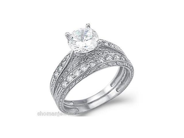 New Solid 14k White Gold CZ Cubic Zirconia Engagement Ring Wedding Band Set Round Cut 1.5 ct