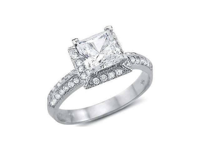 Solid 14k White Gold Princess Cut CZ Cubic Zirconia Channel Engagement Ring 1.5 ct