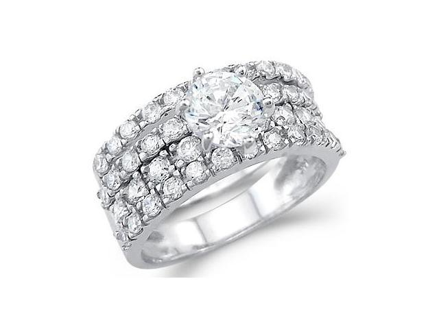 Solid 14k White Gold Ladies CZ Cubic Zirconia Engagement Wedding Ring Set Round Cut 3.0 ct