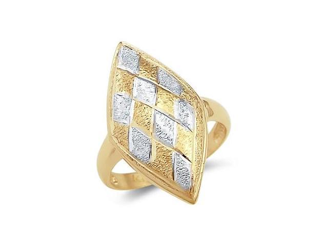 14k Yellow and White Gold Unique Diamond Shape Ring
