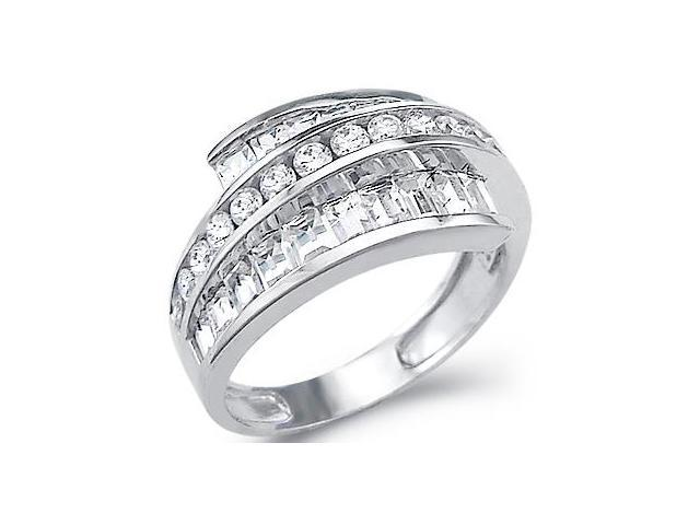 Solid 14k White Gold Large CZ Cubic Zirconia Wedding Anniversary Band Ring 2.0 ct