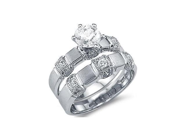 Solid 14k White Gold Matching Engagement Wedding CZ Cubic Zirconia Ring Set Round Cut 1.5 ct