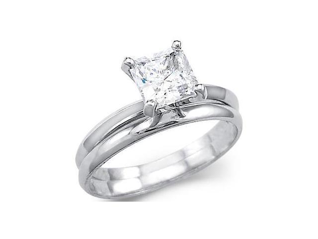 Solid 14k White Gold Princess Engagement Wedding Set CZ Cubic Zirconia Ring 1.5 ct