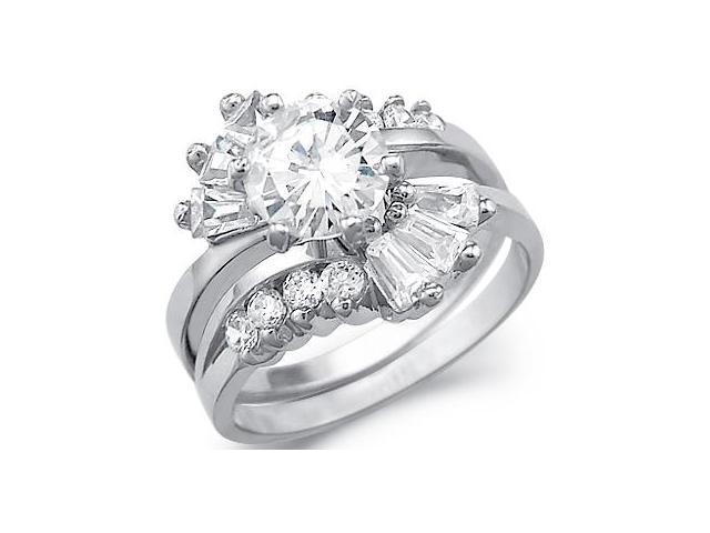 Solid 14k White Gold Solitaire CZ Cubic Zirconia Engagement Ring Wedding Set 3.0 ct