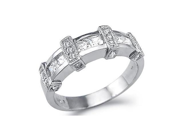 Solid 14k White Gold Princess Cut CZ Cubic Zirconia Wedding Anniversary Band 1.0 ct