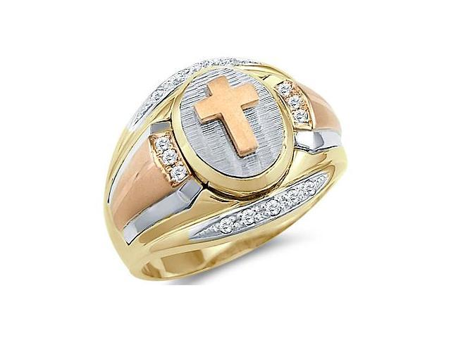 Solid 14k Tri-Color Gold Mens Large Heavy Cross CZ Cubic Zirconia Ring