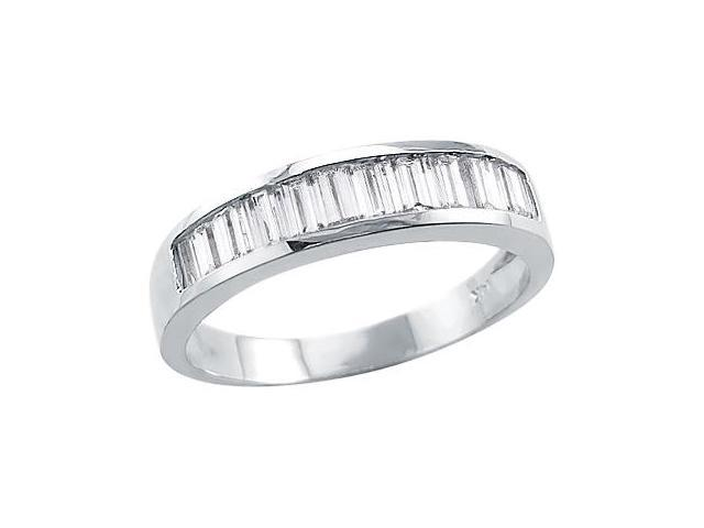 Solid 14k White Gold Channel Set Baguette Ladies CZ Cubic Zirconia Ring