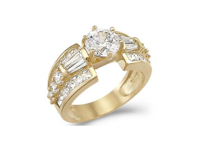 Solid 14k Yellow Gold Large Solitaire CZ Cubic Zirconia Engagement Ring Huge 3.0 ct