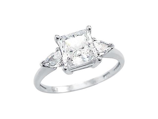 Solid 14k White Gold Ladies Princess Cut CZ Cubic Zirconia Engagement Ring 2.0 ct