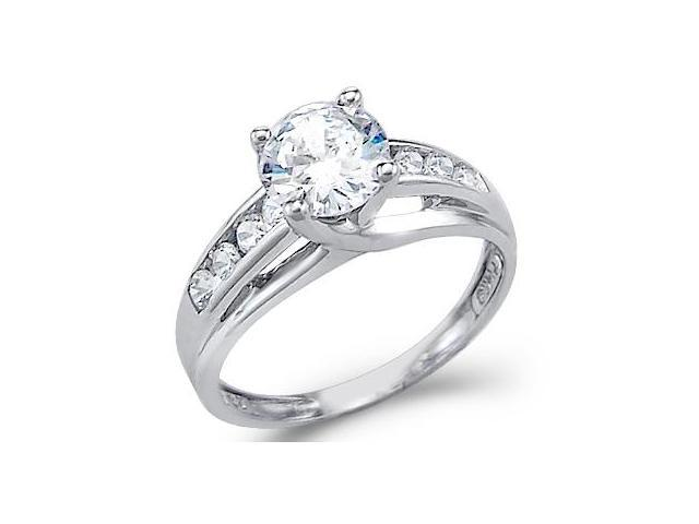 Solid 14k White Gold Solitaire Round CZ Cubic Zirconia Engagement Ring 1.5ct