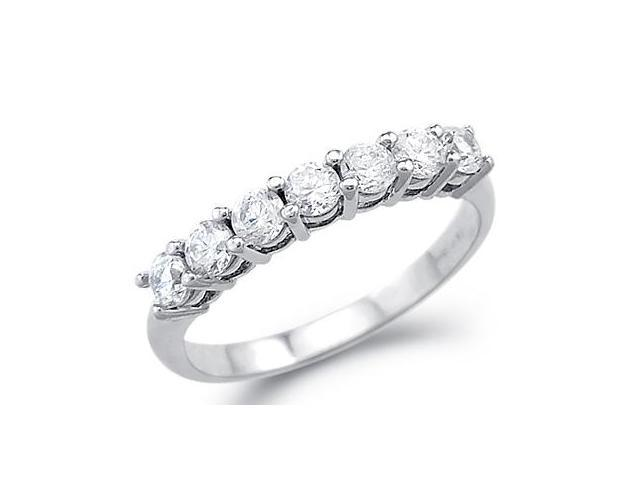Solid 14k White Gold Channel CZ Cubic Zirconia Wedding Anniversary Band Ring 1.0 ct