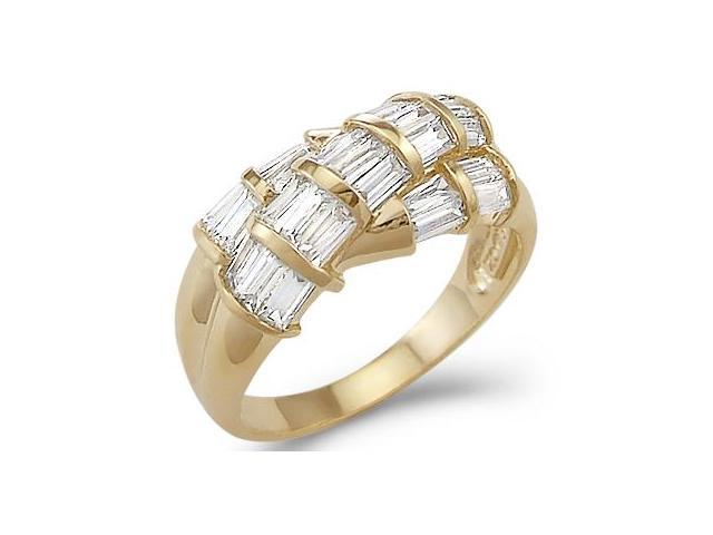 Solid 14k Yellow Gold Ladies CZ Cubic Zirconia Fashion Unique Baguette Ring