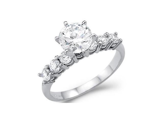 New Solid 14k White Gold Round CZ Cubic Zirconia Channel Set Engagement Ring 1.5 ct
