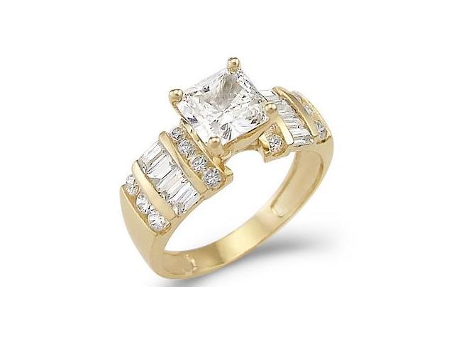 Solid 14k Yellow Gold Princess Solitaire CZ Cubic Zirconia Engagement Ring 2.0 ct