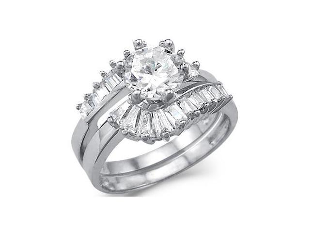 Solid 14k White Gold CZ Cubic Zirconia Engagement Wedding Large Two Ring Set 3.0 ct