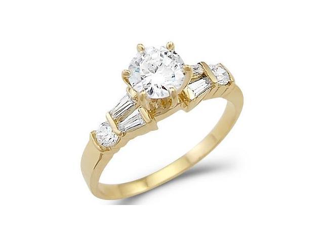 Solid 14k Yellow Gold New Solitaire CZ Cubic Zirconia Engagement Ring Unique 1.0 ct