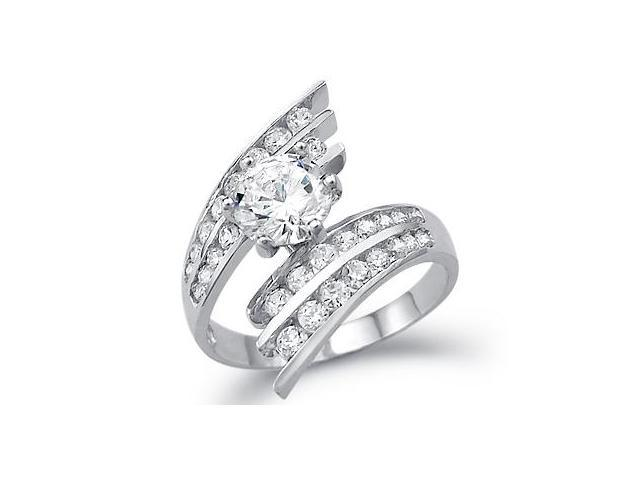 Solid 14k White Gold Solitaire Round CZ Cubic Zirconia Large Engagement Ring 3.5 ct